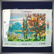 Autumn Landscape DMC French Needlepoint Canvas to Stitch