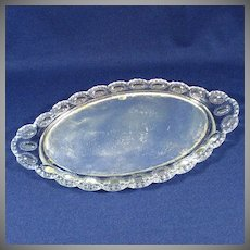 Antique Pressed Glass Mirrored Dresser Vanity Tray