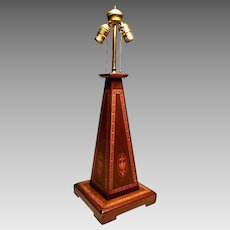 Vintage Federal Style Mahogany Table Lamp w/Boxwood String Inlay