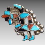 Vintage Zuni Dancer Brooch: 925 Silver, Turquoise