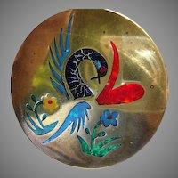 Mid Century Brass, Plique-a-Jour Enamel Pendant - abstract design