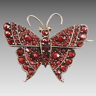 Victorian Bohemian Garnet Butterfly Brooch