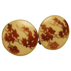 Vintage Japanese Satsuma Pottery Earrings