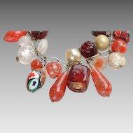 "1960's Venetian Blown Glass Bead ""Sampler"" Charm Bracelet: wedding cake beads, lutz, canes"