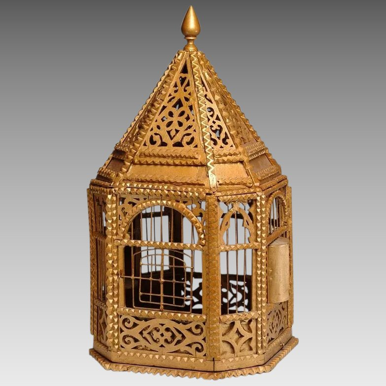 1930 S Tramp Art Bird Cage With Fretwork Detail Original