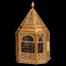 1930's TRAMP ART Bird Cage with fretwork detail: original gold paint