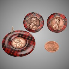 1959 Tartan Set of earrings and pendant
