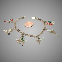 Whimsical 1950's Western Themed Charm Bracelet