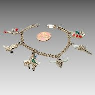Whimsical 1950's Western Themed Charm Bracelet