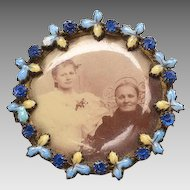 Victorian Photo Brooch with enamel, rhinestone frame