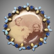 Victorian Photo Brooch with enamel, rhinestone frame