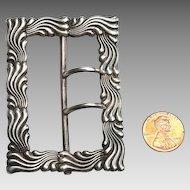 Antique Shiebler Sterling Silver Belt Buckle c.1910 - Art Nouveau Repousse