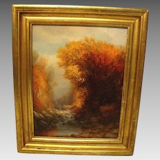 1890 Signed American Oil Painting: Charles Franklin Pierce (1844-1920) AUTUMN