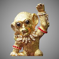 Large 1960's Monkey Brooch