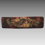 Victorian, Edwardian Pencil Box with Lithographed Illustration