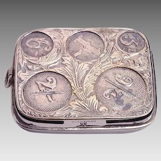 Most Unusual English COIN HOLDER c. 1910 - Nickel Plated Brass -