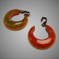 1940's Tri-color Bakelite Clip Earrings