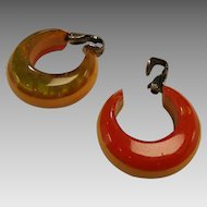 1940's Tri-color Bakelite Clip Earrings