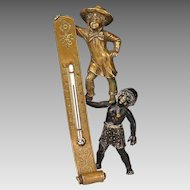 Outstanding 19th c. BRONZE Desk Thermometer