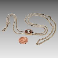 Victorian Gold Filled Lorgnette Chain with Garnet Slide