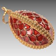 Vintage14kt Gold, Silver Vermeil Cloisonne Enamel Egg Charm