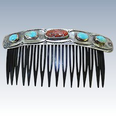 Vintage Navajo Hair Comb: Turquoise, Coral, Silver (tested)