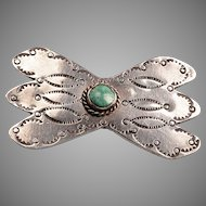 Large Silver, Turquoise Native American Brooch