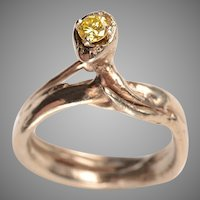 14k Gold, Yellow Diamond Solitaire Ring