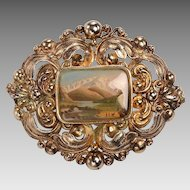 Victorian GF Brooch, Miniature Oil Paining