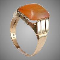 Art Deco 14kt Gold Ring - Orange Agate - size 10