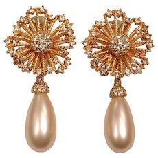 Signed Ciner Pearl Drop and Rhinestone Earrings
