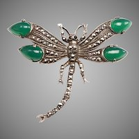 Vintage Silver, Marcasite, Chrysoprase Dragonfly Brooch