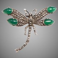 Vintage Silver, Marcasite, Chrysoprase Dragonfly Brooch