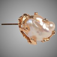 Art Nouveau Baroque Pearl, 14kt Stick Pin