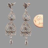 Long Silver, Marcasite Pierced Dangle Earrings