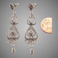Long Silver, Marcasite Pierced Dangle Earrings