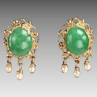 Vintage 14kt Gold, Jade, Pearl Earrings