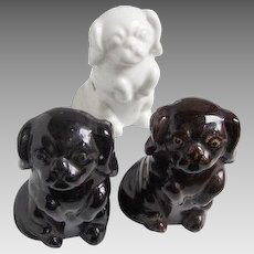 Three Vintage, Multi Plug, Electrical Receptacles: Porcelain Spaniels
