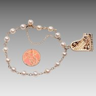 14 Karat Gold, Cultured Pearl, Piano Charm Bracelet