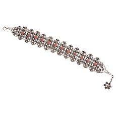 1940's Italian Silver, Faux Coral Bracelet