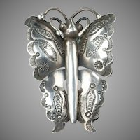 1940's Navajo Stamp Work, Silver (.900-.925) Butterfly Brooch