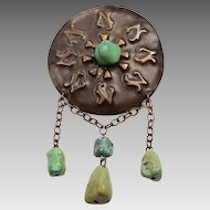 Vintage Copper Repousse, Turquoise Nugget Brooch