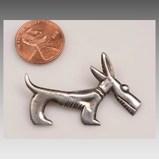 Stylized Deco Dog Brooch, Mexican silver