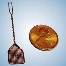 Vintage Soft Metal German Dollhouse Fly Swatter - collected from a much damaged Bliss dollhouse