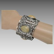 Vintage Mexican Silver Hinged Link Bracelet