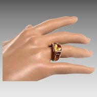 14kt Gold, Yellow Citrine, Garnet Ring