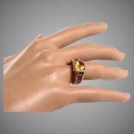 14kt Gold, Yellow Citrine, Garnet Ring