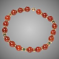 1960's Emerald, Carnelian, 14kt gold Bead Necklace
