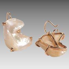 Vintage 14kt, Baroque Pearl Earrings