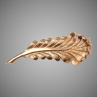 Tiffany 14kt Feather Brooch